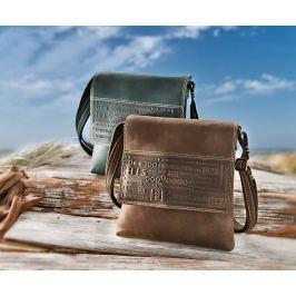H.I.S Pánská kožená taška Lima, přes rameno, hnědá