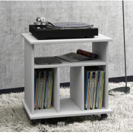 Pojízdný stolek na gramofon + LP, bílá