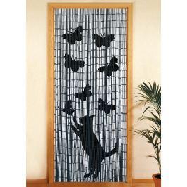 Bambusový závěs Kočka a motýli