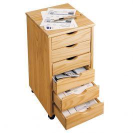 Dřevěná skříňka s šuplíky, přírodní
