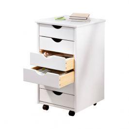 Dřevěná skříňka s šuplíky bílá