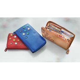 H.I.S Dámská kožená peněženka Flower, barva chilli