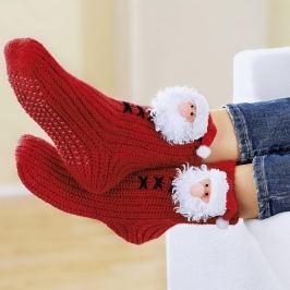 Domácí teplé ponožky Santa