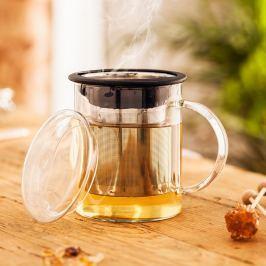 Skleněný čajový hrnek s filtrem a víčkem