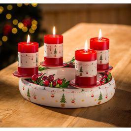 Keramický adventní svícen Veselé Vánoce