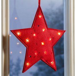 LED Plstěná hvězda, červená