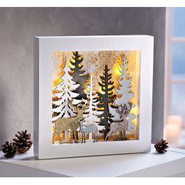 LED dřevěný obraz Les