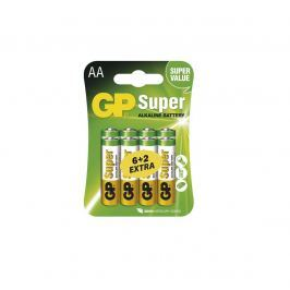 Alkalické baterie GP Super LR6(AA) 6+2 KS