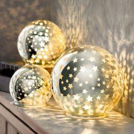 LED Skleněné koule Hvězdy, sada 3 ks