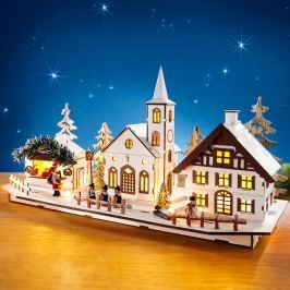 LED dekorace Dřevěná vesnička