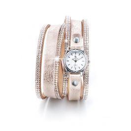 Dámské hodinky s náramkem s krystaly, růžová/stříbrná