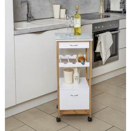 Finja kuchyňský vozík s 2 zásuvkami a policí na víno