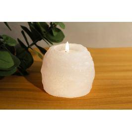 Svícen ze solného krystalu - bílý