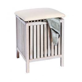 Norway Dřevěná stolička s úložným prostorem, přírodní bílá