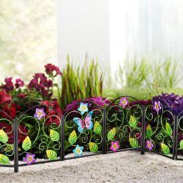 Kovová dekorační palisáda Květy