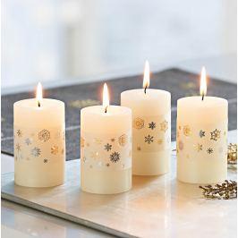 Voskové svíčky Sněhová vločka, 4 kusy
