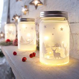 LED skleněná lucerna Vánoce, 2 kusy