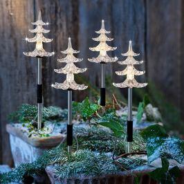 LED Zahradní zápich Stromečky, sada 4 ks
