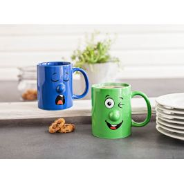 Hrnky Grimasy, modrý a zelený
