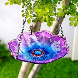 Závěsné skleněné ptačí pítko Květ