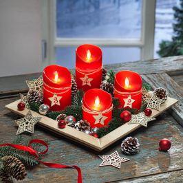 Adventní sada LED svíček s dekorací, červená