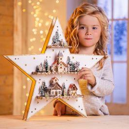 LED Dřevěná hvězda s hrací skříňkou Vánoční dekorace