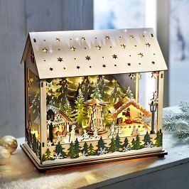 LED Lucerna Vánoční trh s hrací skříňkou
