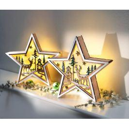 LED Dřevěná hvězda Zimní les, 2 ks