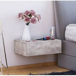 Nástěnný noční stolek Dormas, barva beton