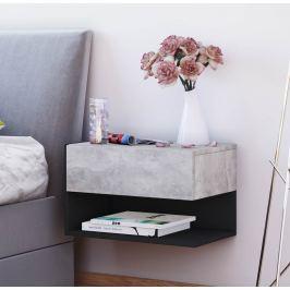 Nástěnný noční stolek Dormal, betonová/černá