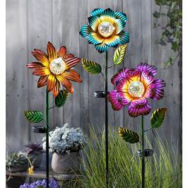 Solární zahradní zápich Květ Emoce, modrý