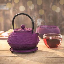 Litinová konvice na čaj, fialová