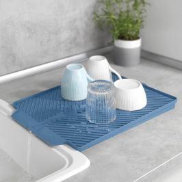 Odkapávací podložka na nádobí Linea, modrá